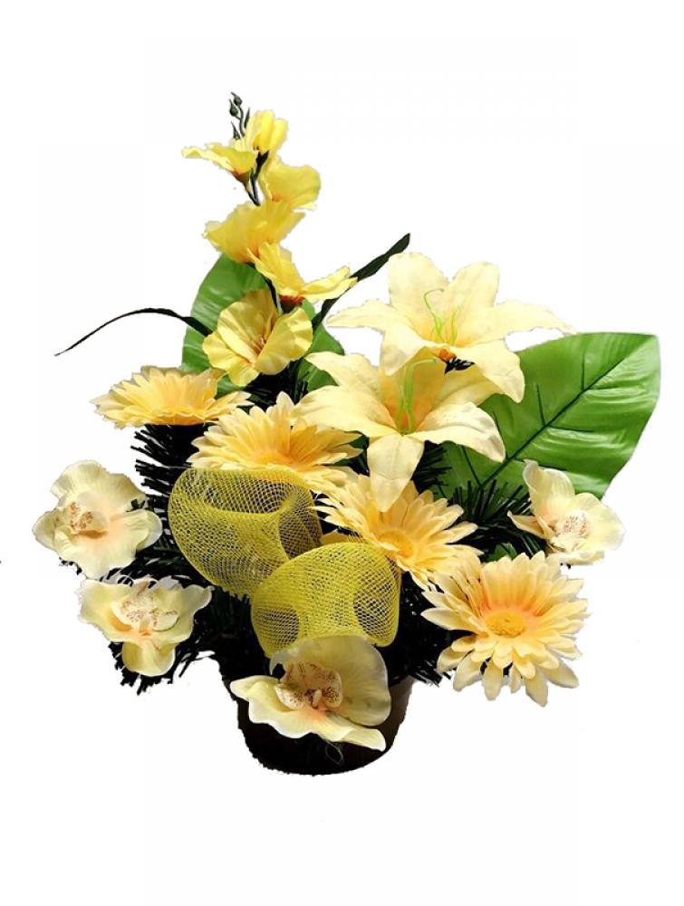 b19b785e1 Ikebana na hrob - zaťažená misa + kvety 10 ks + mašľa 46 cm