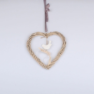 Závesné prútené srdce s vtáčikom 19 cm e2c67478ac6