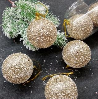 a9545e13a Vianočné gule zlaté zasnežené 10 ks 6 cm