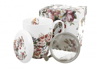 Porcelánový pohár so sitkom Vintage flowers 380 ml